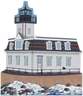 Decorate your home with a little wooden Village that reminds you of the Rose Island Lighthouse. Handcrafted in wood by The Cat's Meow Village.