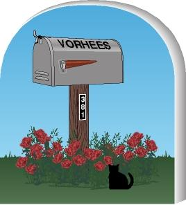 Cat's Meow Village handcrafted wooden mailbox you can personalize with your name and street address.