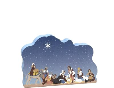 """Nativity handcrafted in 3/4"""" thick wood by The Cat's Meow Village. An American-made company."""