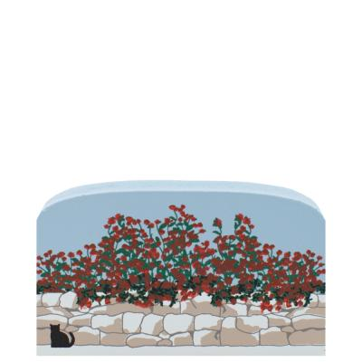 """Roses cascading over a stone wall handcrafted in 3/4"""" thick wood by The Cat's Meow Village in the USA."""
