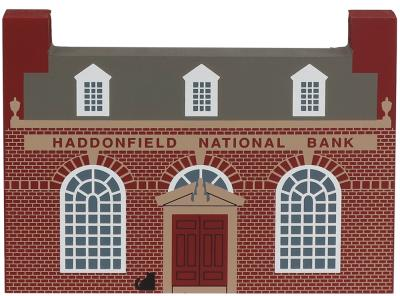 "Vintage Haddonfield National Bank from Series XI handcrafted from 3/4"" thick wood by The Cat's Meow Village in the USA"