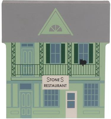 "Vintage Stone's Restaurant from Series XI handcrafted from 3/4"" thick wood by The Cat's Meow Village in the USA"