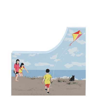 Children Flying Kite, kite, seashore, Cape Cod, New England, nautical
