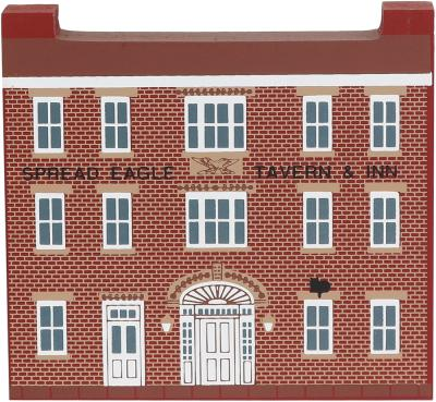 "Vintage Spread Eagle Tavern from Series XII handcrafted from 3/4"" thick wood by The Cat's Meow Village in the USA"