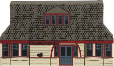 "Vintage Haddon Heights Train Depot from Series XII handcrafted from 3/4"" thick wood by The Cat's Meow Village in the USA"
