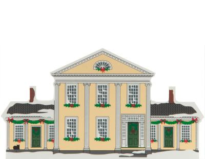 Wooden handcrafted keepsake of the Goldsmith House created by The Cat's Meow Village