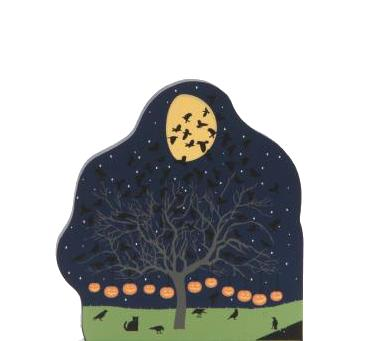 Cat's Meow handcrafted wooden keepsake of a tree filled with Starlings for Halloween decor