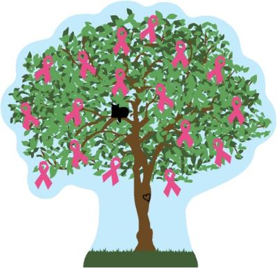 Cat's Meow Village Breast Cancer Awareness Charity Tree