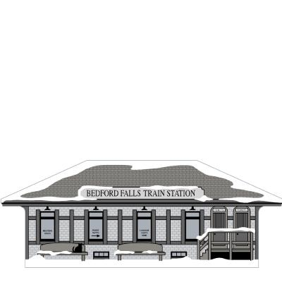 Bedford Falls Train Station handcrafted in wood by The Cat's Meow Village is themed after the movie It's A Wonderful Life