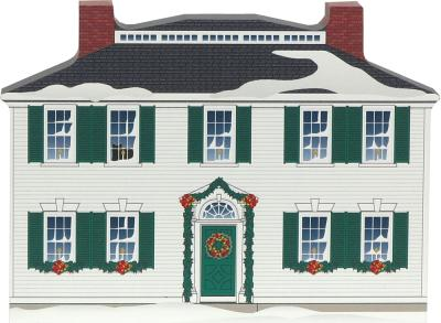 Wooden handcrafted Cat's Meow keepsake of the Salem Towne House in Old Sturbridge Village, Massachusetts