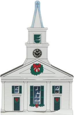 Wooden handcrafted Cat's Meow keepsake of the Center Meetinghouse in Old Sturbridge Village, Massachusetts