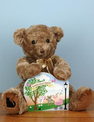 """Create your own personalized baby announcement with our 3/4"""" thick wooden shelf sitter & get our ultra plush teddy, too. Made in the USA by The Cat's Meow Village"""