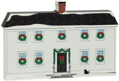 "Mystic Seaport Buckingham-Hall House recreated in 3/4"" thick wood, handcrafted by The Cat's Meow Village for your holiday decor."