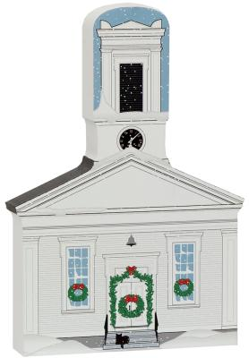 handcrafted wooden keepsake of Mystic Seaport Greenmanville Church, by The Cat's Meow Village.
