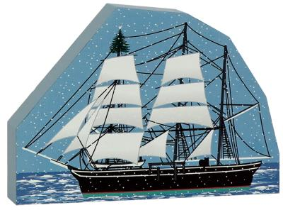 "Mystic Seaport Charles W. Morgan Whaleship recreated in 3/4"" thick wood, handcrafted for your holiday decor."