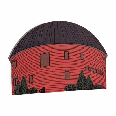 """Famous Route 66 Arcadia, Oklahoma Round Barn handcrafted in 3/4"""" thick wood by The Cat's Meow Village. Handmade in the USA."""