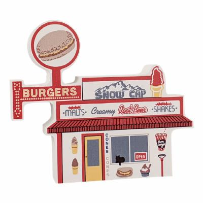 """Seligman, Arizona's famous Snow Cap Drive-in replicated in 3/4"""" thick wood to add to your home decor. Handcrafted in the USA by The Cat's Meow Village."""