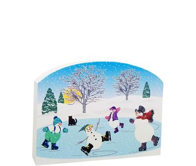 """Have you every caught a glimpse of snowmen skating? Pop this in a corner of your shelf and you'll smile when you pass by. Handcrafted of 3/4"""" thick wood by The Cat's Meow Village"""