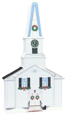 "Decorate a niche in your home with this West Tisbury Church, part of the Martha's Vineyard Christmas Series handcrafted in 3/4"" thick wood by The Cat's Meow Village"
