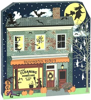 Sometimes cleaning can make you want to fly off the handle! Broomstick Betsy's Cleaning and Homecare can do the work with glow-in-the-dark surprises. Handcrafted by The Cat's Meow Village and made in the USA.