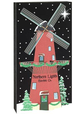Northern Lights Electric Co., part of The Cat's Meow Village North Pole Collection. Includes glittery snow.