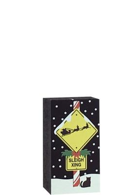 Add this sleigh crossing sign to your North Pole holiday decor this year. Handcrafted in the USA by The Cat's Meow Village