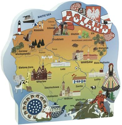 "3/4"" thick wooden map of Poland includes prominent landmarks and cultural icons. Handcrafted by The Cat's Meow Village in the USA."