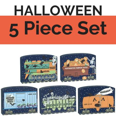 Get your paws on all 5 train cars of our Halloween train set and save yourself $5! Handcrafted in the USA by The Cat's Meow Village.
