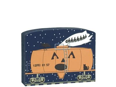 "This Tanker Of Screams train car is part of a 5-piece Halloween train set. Handcrafted by The Cat's Meow Village in Wooster, Ohio from ¾"" thick wood to set on a bookshelf, mantel, windowsill, or the trim above your doorway."