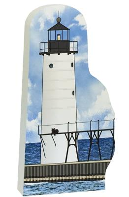 """Replica of the Manistee North Pierhead Light handcrafted in 3/4"""" thick wood by The Cat's Meow Village in Wooster, Ohio."""