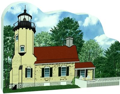 """Get your paws on this White River Lighthouse if you are a lighthouse lover! Handcrafted of 3/4"""" thick wood by The Cat's Meow Village. Made in the USA."""