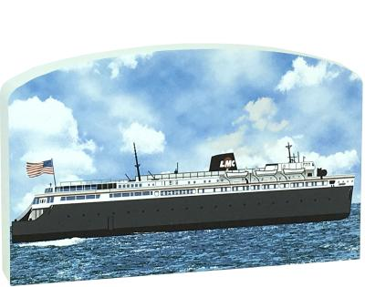 """SS Badger Steamship from Ludington, Michigan handcrafted of 3/4"""" thick wood that you can tuck into a bookshelf or perch it on yourdesk. Made in the USA by The Cat's Meow Village."""