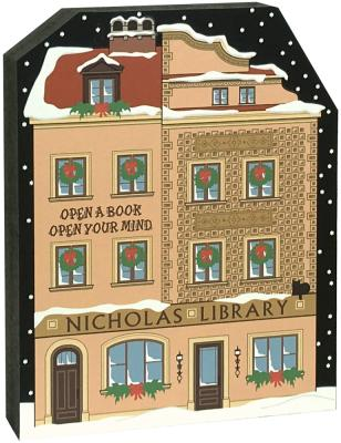 "Satisfy your Christmas holiday decorating itch with this Nicholas Library, and while you're at it, add more pieces to make a Village! Handcrafted of 3/4"" thick wood by The Cat's Meow Village in the USA."