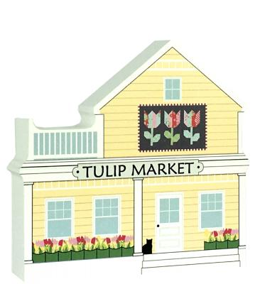 "Tulip Quilt Market handcrafted of 3/4"" thick wood by The Cat's Meow Village in Wooster, Ohio."