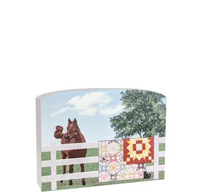 "Quilt fence with horse, showing off Dashing and Barn Star quilts. Handcrafted of 3/4"" thick wood by The Cat's Meow Village in Wooster, Ohio."