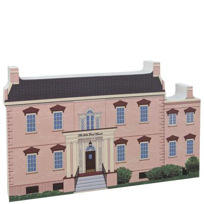 "Front of replica of the Olde Pink House, Savannah, Georgia.  Handcrafted in 3/4"" thick wood by The Cat's Meow Village in the USA."