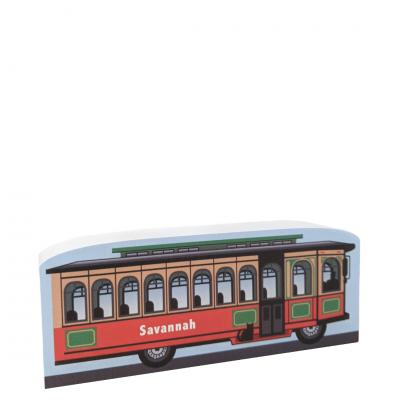 "Replica of a trolley in Savannah, Georgia.  Handcrafted in 3/4"" thick wood by The Cat's Meow Village in the USA."