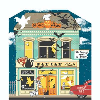 "Add this Fat Cat Pizzeria to your Halloween decorations this year. Handcrafted of 3/4"" thick wood in Wooster, Ohio by The Cat's Meow Village."