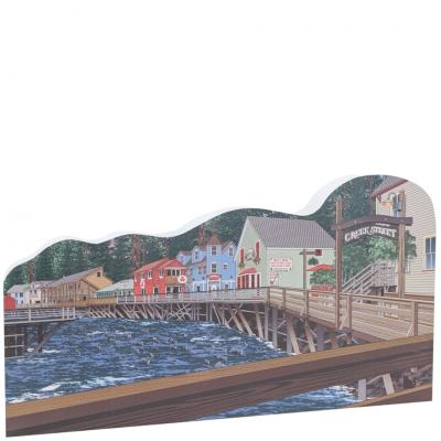 "Replica of the Boardwalk of Creek Street, Ketchikan, Alaska.  Handcrafted in 3/4"" thick wood by The Cat's Meow Village in the USA."