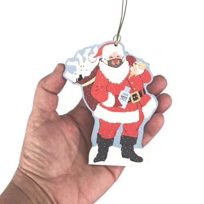 """Special Delivery Santa 2020 Ornament. Handcrafted in the USA 3/4"""" thick wood by Cat's Meow Village."""