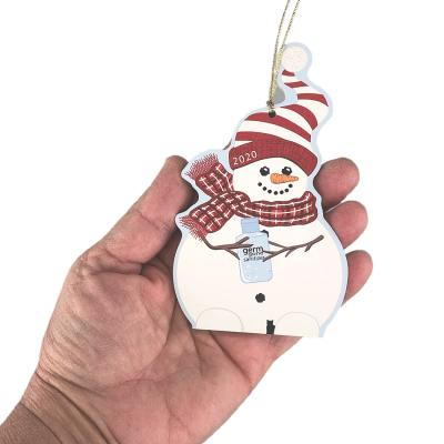 """Snowman of the Year 2020 Ornament. Handcrafted in the USA 3/4"""" thick wood by Cat's Meow Village."""