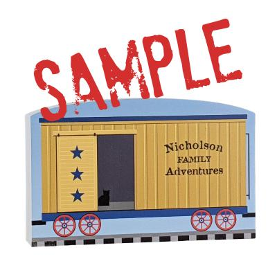 """Add personalization to the train car to celebrate your family memories. Handcrafted of 3/4"""" thick wood by The Cat's Meow Village in Wooster, Ohio."""
