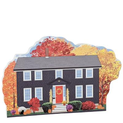 """Witch's Coffin Cottage, Autumn in Salem, Massachusetts. Handcrafted in the USA 3/4"""" thick wood by Cat's Meow Village."""