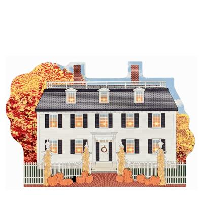 Ropes Mansion in Salem, MA all decorated for fall and Halloween. Handcrafted by The Cat's Meow Village in Wooster, Ohio.