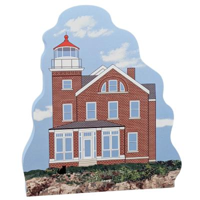 """South Bass Island Lighthouse, Put-In-Bay, Ohio.  Handcrafted in the USA 3/4"""" thick wood by Cat's Meow Village"""