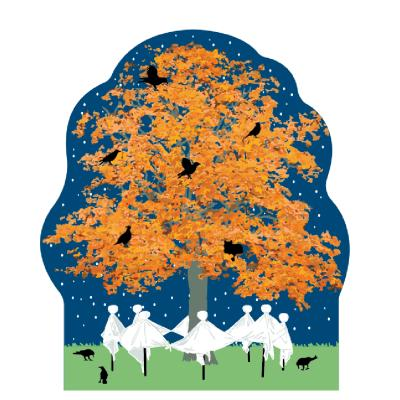 """Ghosts dancing around a fall tree! Vibes of fall and halloween. Handcrafted in 3/4"""" thick wood by The Cat's Meow Village in the USA."""