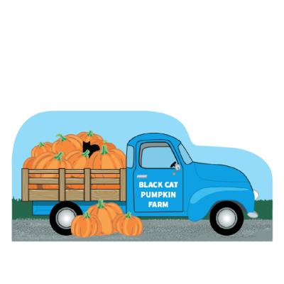 """Black Cat Pumpkin Farm Vintage Truck handcrafted in 3/4"""" thick wood by The Cat's Meow Village in Wooster, Ohio."""