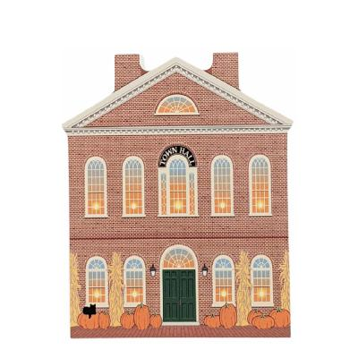 The Old Town Hall in Salem, MA decorated for fall and Halloween. Crafted by The Cat's Meow Village in Wooster, OH.