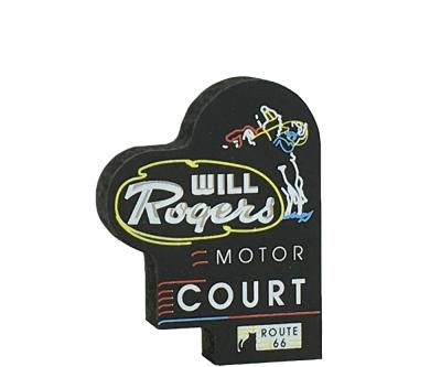 """Miniature handcrafted replica of the Will Rogers Motor Court neon sign for your home decor. Handcrafted in 3/4"""" thick wood in our Wooster, Ohio workshop. The Cat's Meow Village."""