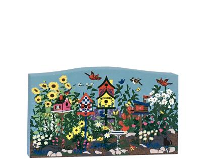Handcrafted wooden shelf sitter of a Cottage Garden created by The Cat's Meow Village